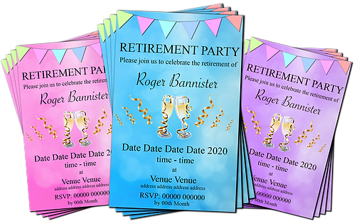 Retirement Party Invitation. Champagne, Streamers, Pink, Blue or Purple