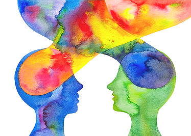 Abstract Watercolor Image of Two People Exchanging Thoughts and Energies