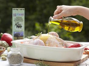 Poulet rôti à l'huile d'olive extra vierge Tinafto sur son lit de légumes !
