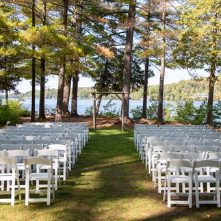 Ceremony site close up with lake backgro
