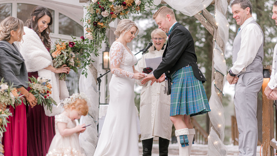 Ashley Winter Wedding with little girl o