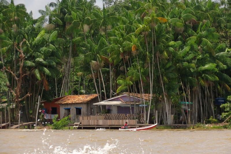 Casas na Ilha do Combu, em Belém, no Pará