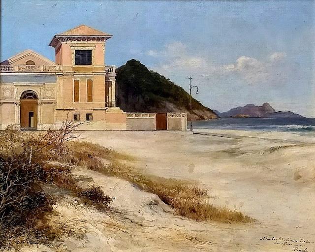 Tela de José Pinelo Llull, em 1910, mostra detalhes da casa dos Bernardelli, em Copacabana