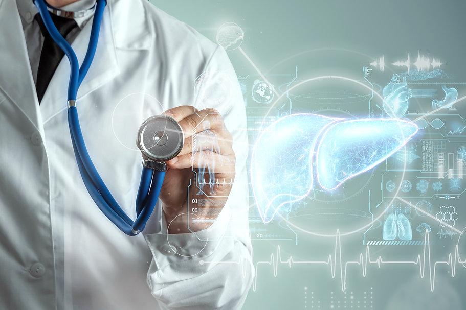 Liver hologram, liver pain. Concept for technology, hepatitis treatment, donation, online ...ion.jpg