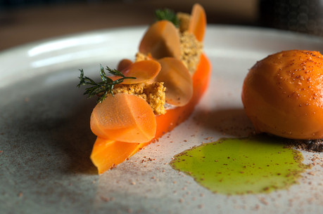 Dessert carotte avec son sorbet et son jus