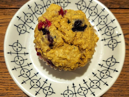 Cranberry Blueberry Oatmeal Muffins