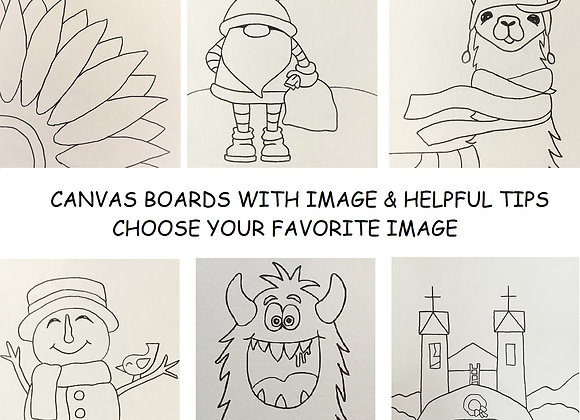 Pre Drawn Canvas Board Only - Choose One