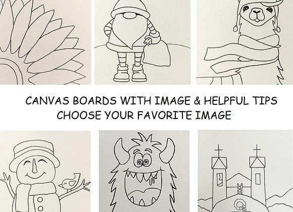 "11""x 14"" Pre Drawn Canvas Board Only"