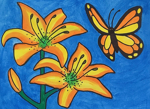 NEW Butterfly and Lilies Paint Kit