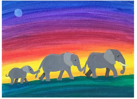 Elephants Heading Home Paint Kit