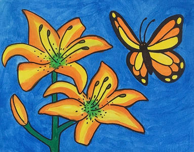 Lilies with the Butterfly