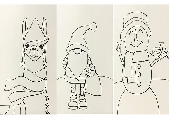 "Pre Drawn 12""x16"" Winter Wonderland Canvas Board Only"