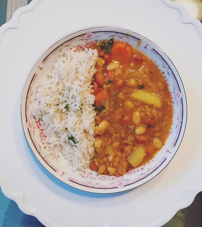 Rosana's Red Lentil Veggie Bean stew