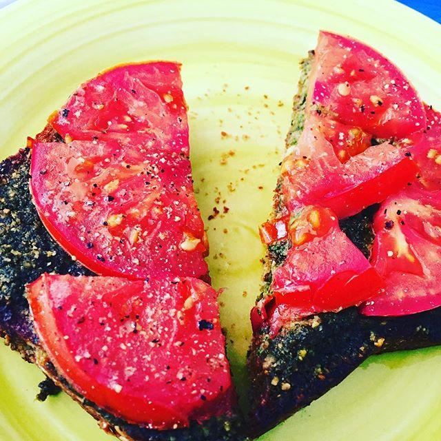 Pesto toast  & tomatoes.