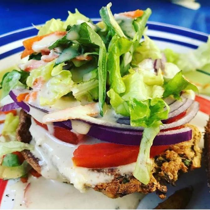 Crispy Crunchy Oil-Free Falafel Burgers & Falafel Croutons
