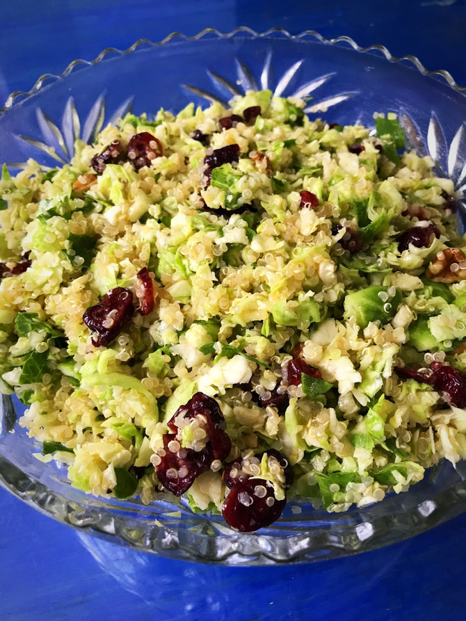 Vegan Holiday Shaved Brussels Sprouts, Quinoa & Cranberry Toss with a Citrus, Dijon Splash!