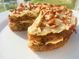 Life changing, delicious Carrot Cake with cream cheese icing. Gluten and sugar free!