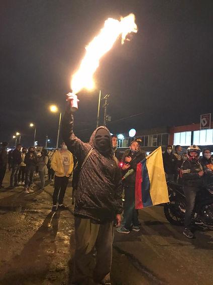 Protesta en Chia fuego