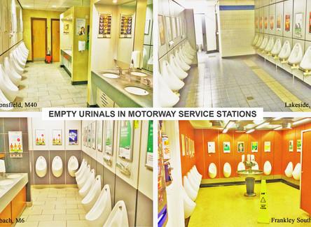 Empty Urinals in Motorway Service Stations