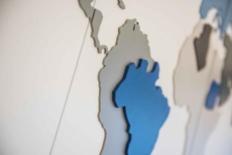 world map, laser-cut layers