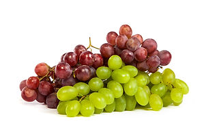 A shot of a White and Red Grapes, laying