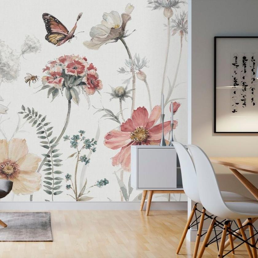 Papel flores y hojas grandes_salón comedor