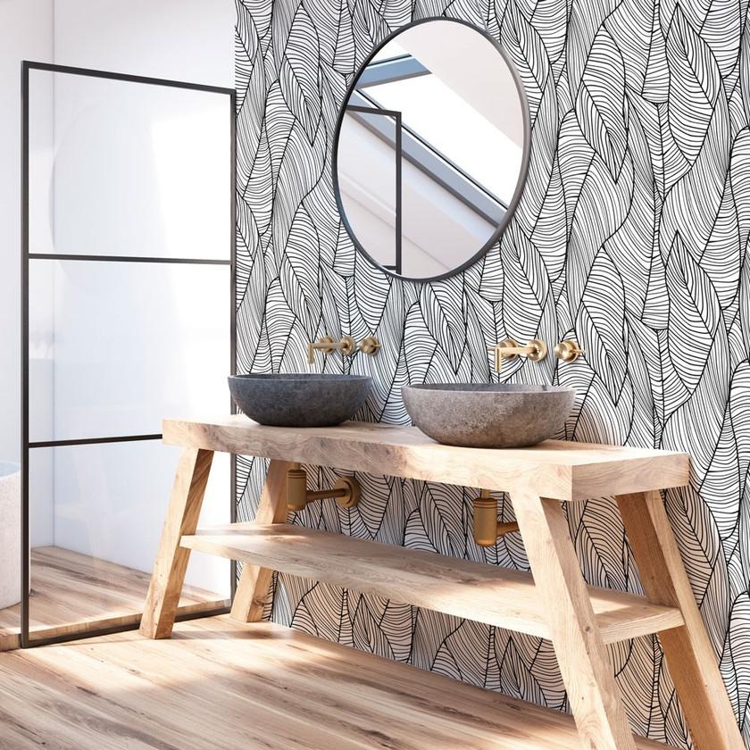 Papel hojas blanco y negro_cuarto de baño