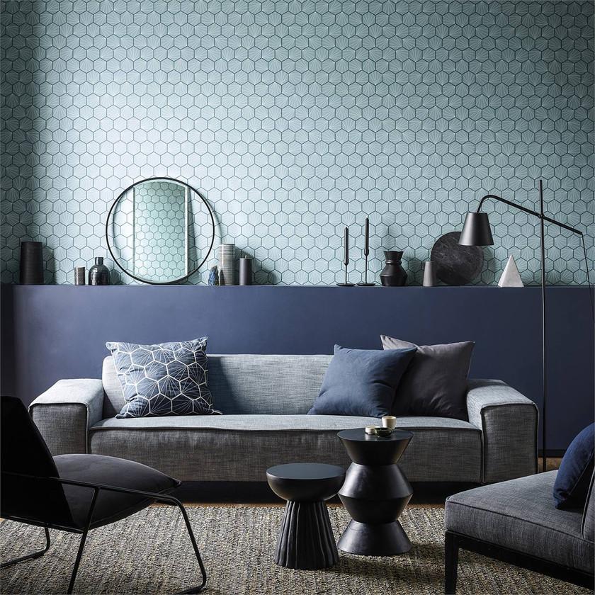 Papel geométrico hexágonos azul claro_ salón