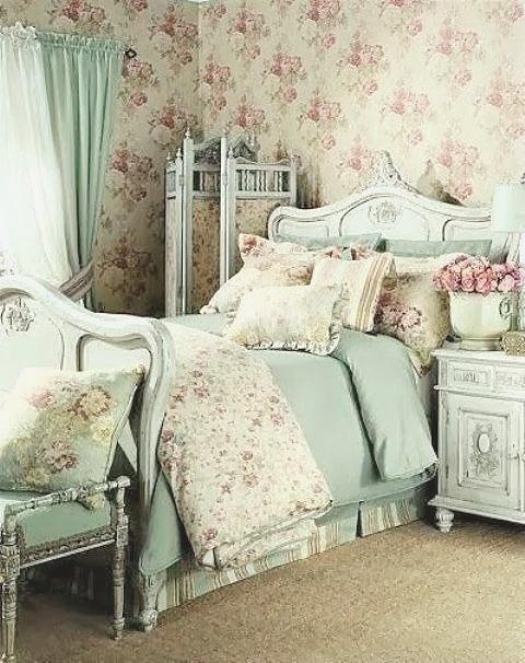 Papel pintado floral estilo vintage_hab antigua