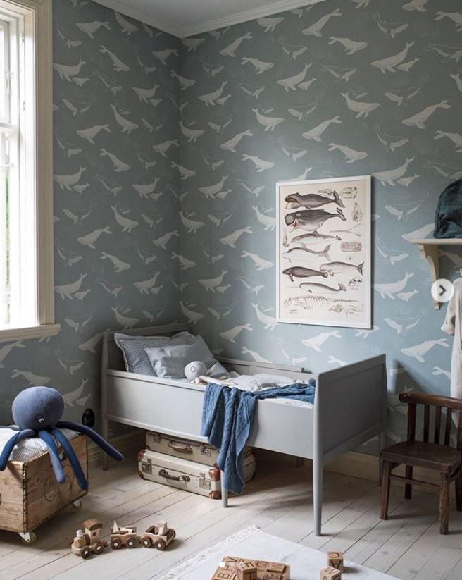 Papel azul grisáceo ballenas_ hab. infantil