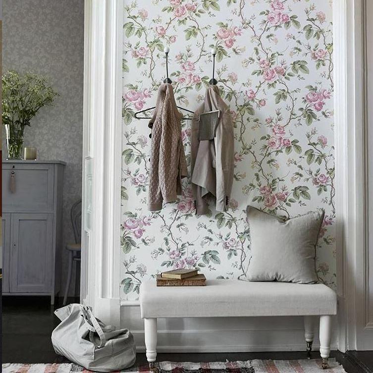 Papel pintado floral estilo vintage_hab actual