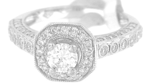 solitaire pave diamond ring