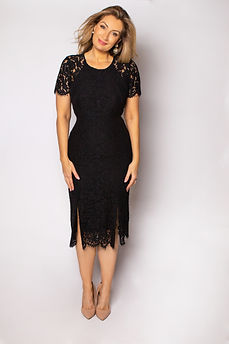 Celebrant wearing black lace dress
