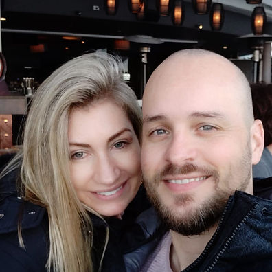Attractive woman and man smiling