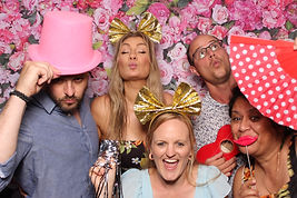 Smiling people posing in Booth Chic Brisbane Photo Booth