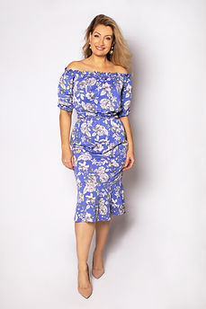 Celebrant wearing blue off-shoulder dress