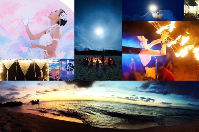 火を囲み月輪とも響き合う砂浜