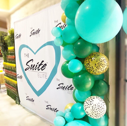 Open house event - balloon garland and Champagne wall rental