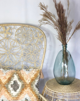 """Frankie"" chair rental and glass bubble vase"