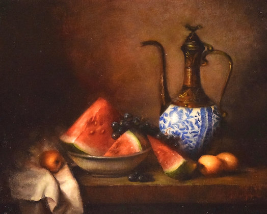 Watermelon with White and Blue Carafe