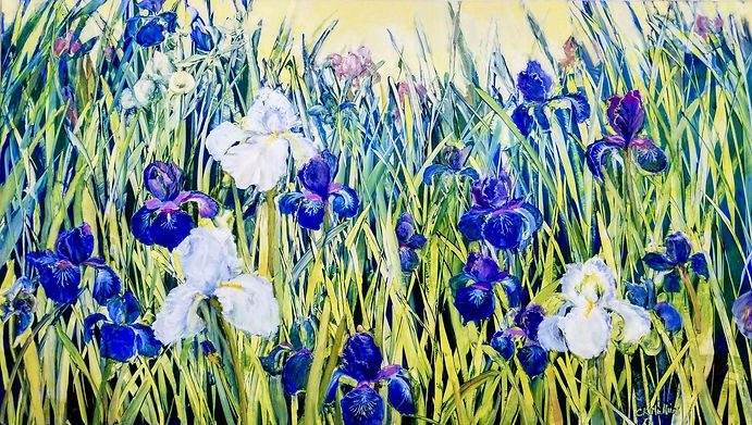 Irises - 24x36 oil on aluminum board