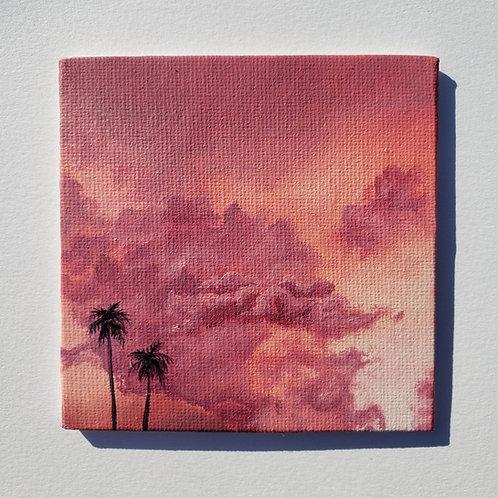 "Mini 4"" x 4"" Pink Cloud Oil Painting"