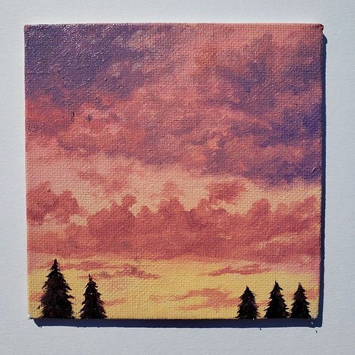 "Mini 4"" x 4"" Pine Tree Sunset Oil Painting"