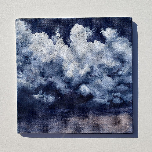 "Mini 4"" x 4"" Dark and Stormy Cloud Oil Painting"