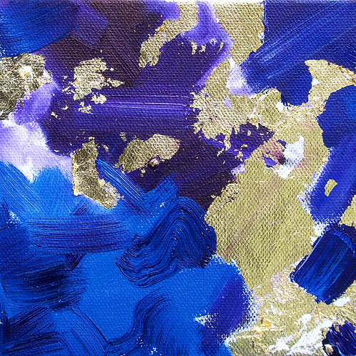 Abstract Blue with Gold Leaf