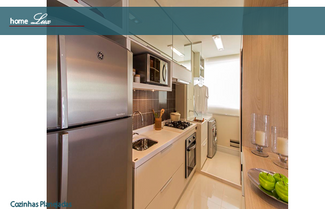Armários de cozinha branco com madeira clara