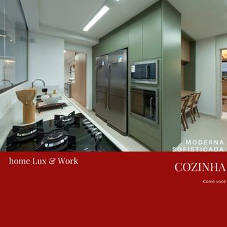 Armários de cozinha moderno: verde e madeira clara