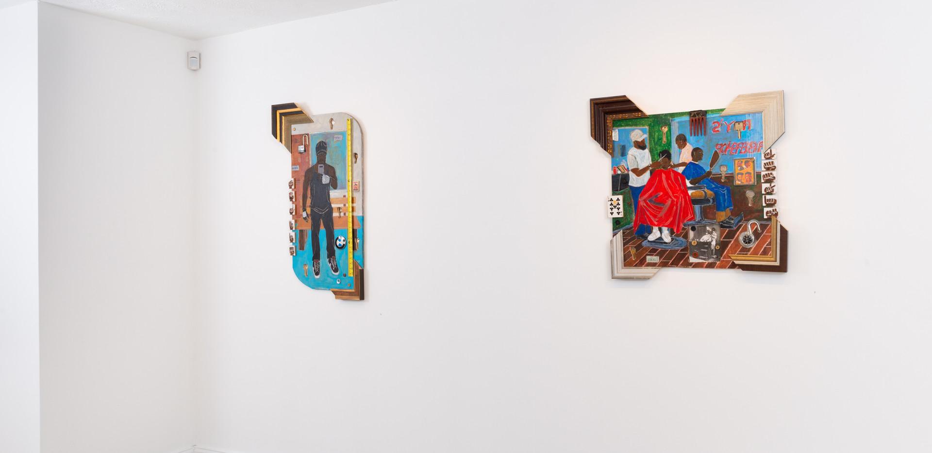 "On the left:  Schroeder Cherry  ""Selfie"" Acrylic, wood, and metal 41"" x 22"", 2019  On the right:  Schroeder Cherry  ""Barbershop Series, Lookin"" Acrylic, wood, and metal 30"" x 30"", 2019"