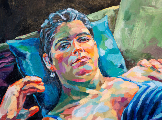 """Detail 2 of """"Night Hunger, After Xenia Hausner"""""""