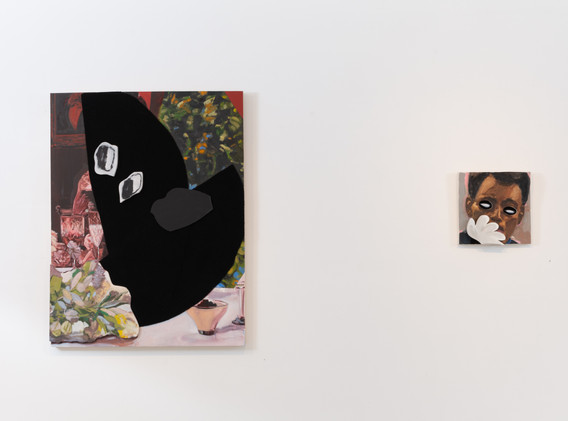 """On the left:  James Williams II """"Hat off the Table""""  Velcro, oil on panel 32"""" x 42"""", 2019  On the right:  James Williams II """"Spy vs. Spy"""" Velcro and oil on panel and canvas  12"""" x 12"""", 2019"""
